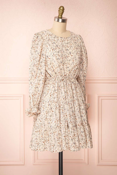 Bricelet Cream Floral Long Sleeve Dress | Boutique 1861 side view