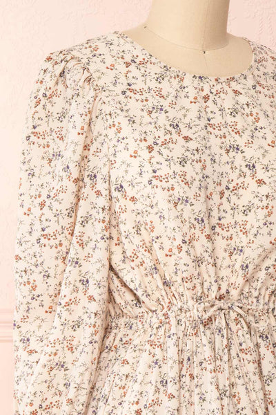 Bricelet Cream Floral Long Sleeve Dress | Boutique 1861 side close-up