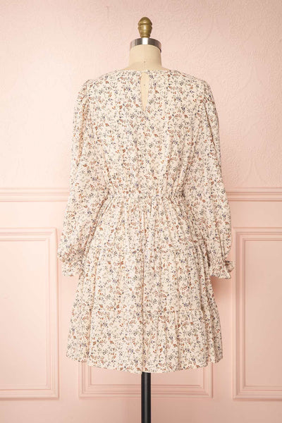 Bricelet Cream Floral Long Sleeve Dress | Boutique 1861 back view