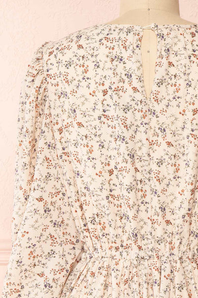 Bricelet Cream Floral Long Sleeve Dress | Boutique 1861 back close-up