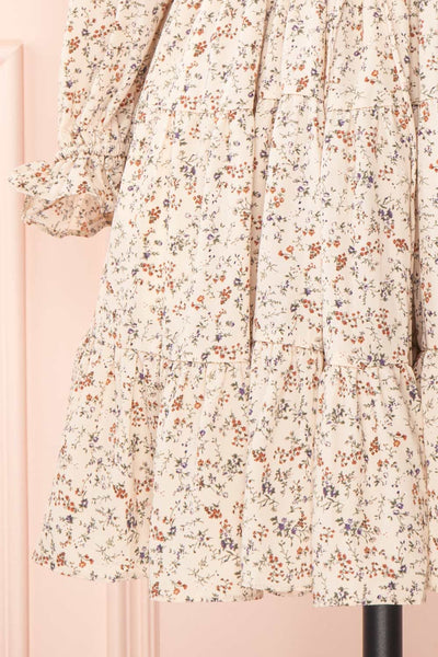 Bricelet Cream Floral Long Sleeve Dress | Boutique 1861 bottom