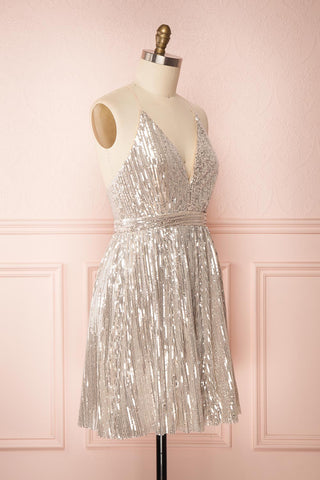 Brigitte Silver Plus Size Party Dress | Robe | Boutique 1861 side view