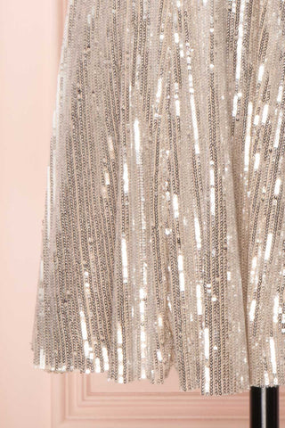 Brigitte Silver Plus Size Party Dress | Robe | Boutique 1861 bottom close-up