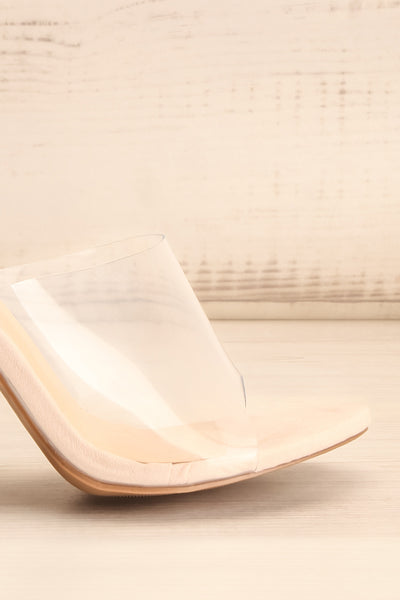 Brittany Rhinstone Clear Heeled Sandals | La Petite Garçonne side front close-up