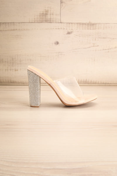 Brittany Rhinstone Clear Heeled Sandals | La Petite Garçonne side view