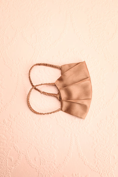 Bronze Satin Pleated Face Mask | Boutique 1861 folded