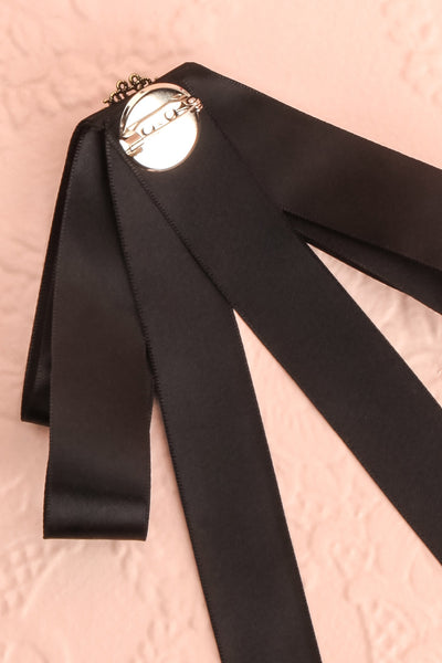 Brumalus Encre Black Ribbon Bow & Pearl Brooch | Boutique 1861 5