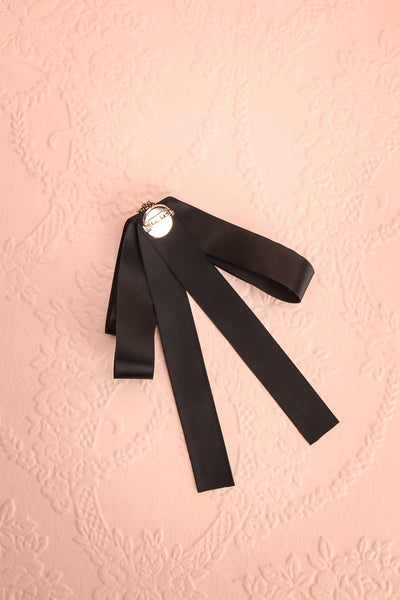 Brumalus Encre Black Ribbon Bow & Pearl Brooch | Boutique 1861 4