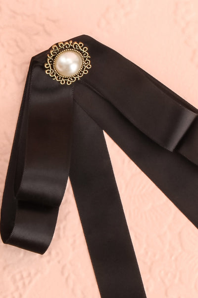 Brumalus Encre Black Ribbon Bow & Pearl Brooch | Boutique 1861 3
