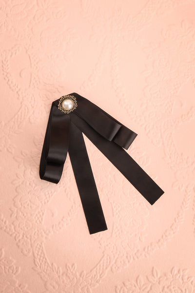 Brumalus Encre Black Ribbon Bow & Pearl Brooch | Boutique 1861 1