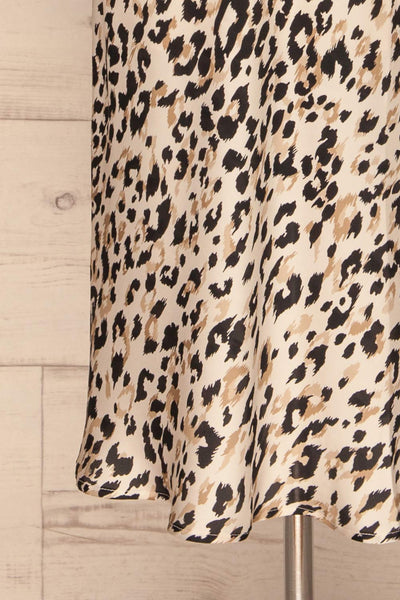 Brynja Leopard Print Slip Dress | Robe | La Petite Garçonne bottom close-up