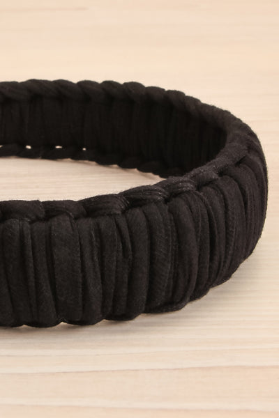 Caelum Black Macrame Headband | La petite garçonne flat close-up