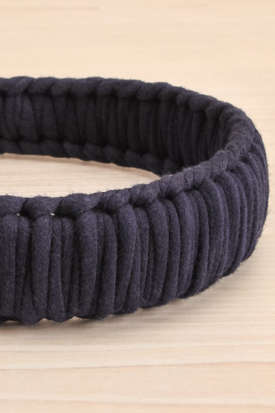 Caelum Navy Blue Macrame Headband | La petite garçonne flat close-up