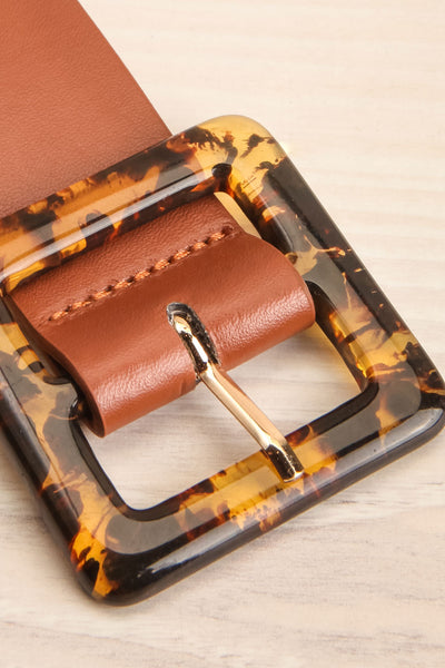 Cogo Brown Belt with Marbled Amber Buckle | La Petite Garçonne 4