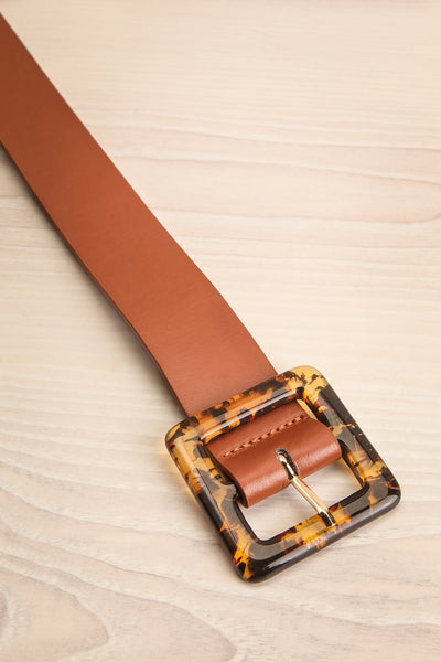 Cogo Brown Belt with Marbled Amber Buckle | La Petite Garçonne 3