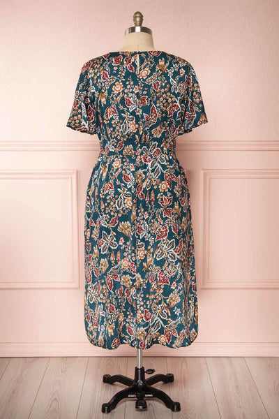 Cahan Teal Floral Silky Midi Dress | Robe back view | Boutique 1861