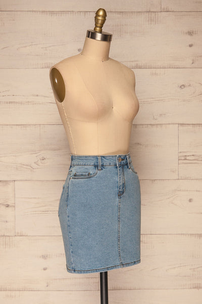 Cahul Sky Blue Denim Skirt | La petite garçonne side view