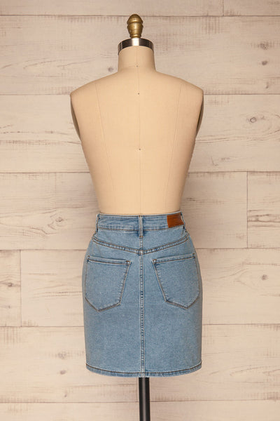 Cahul Sky Blue Denim Skirt | La petite garçonne back view