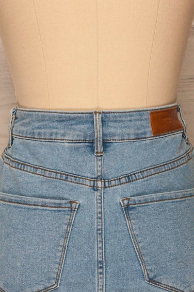 Cahul Sky Blue Denim Skirt | La petite garçonne back close-up