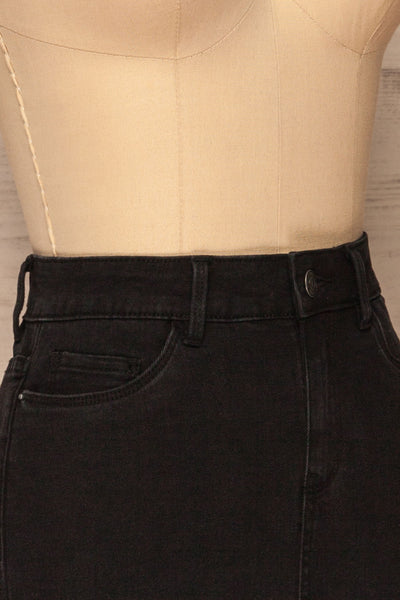 Cahul Storm Black Denim Skirt | La petite garçonne side close-up