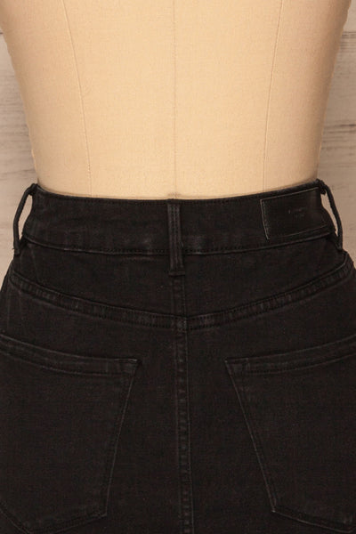Cahul Storm Black Denim Skirt | La petite garçonne back close-up