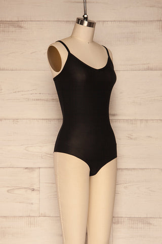 Caitlyn Black Stretchy Bodysuit | La Petite Garçonne side view