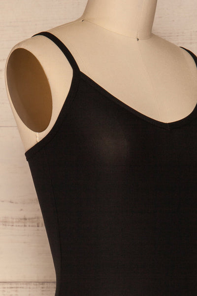 Caitlyn Black Stretchy Bodysuit | La Petite Garçonne side close-up