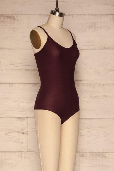 Caitlyn Fig Stretchy Bodysuit | Justaucorps | La Petite Garçonne side view