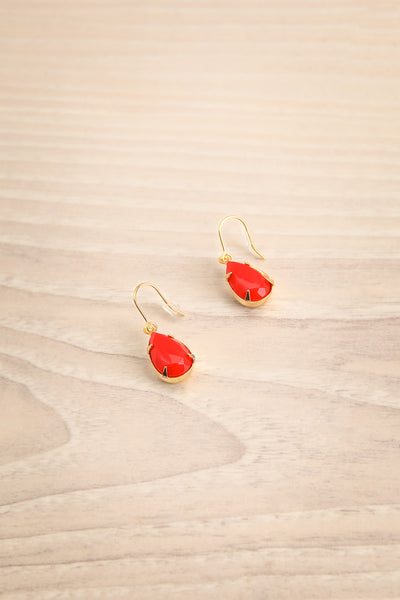 Cajsa Vitet Red & Golden Pendant Earrings | La Petite Garçonne
