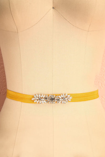 Calathéa Moutarde - Yellow belt with a crystal ornament 3