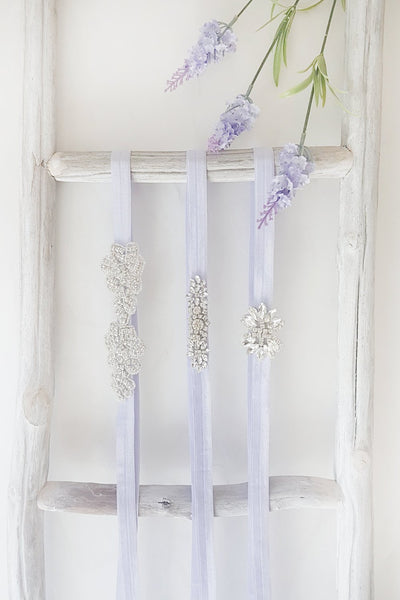 Lumen Lilas Lilac Ribbon Belt with Crystals | Boudoir 1861 7