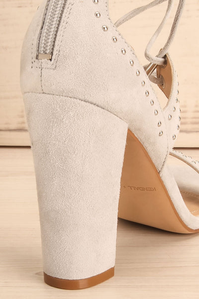 Caldirola Light Grey Strappy Sandals heel close-up | La Petite Garçonne Chpt. 2
