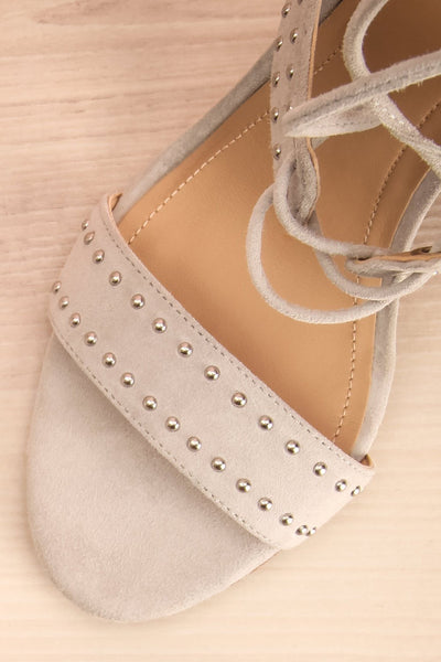 Caldirola Light Grey Strappy Sandals flat lay close-up | La Petite Garçonne Chpt. 2