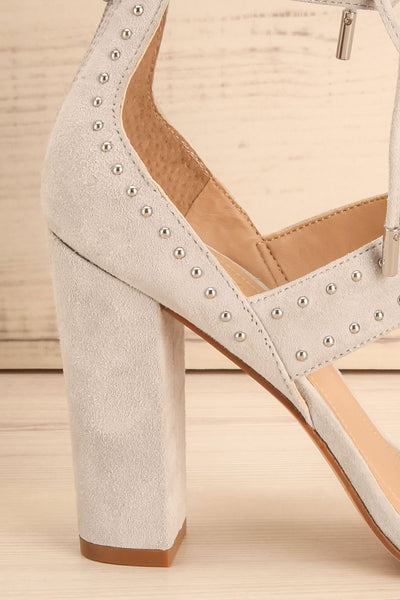 Caldirola Light Grey Strappy Sandals side heel close-up | La Petite Garçonne Chpt. 2