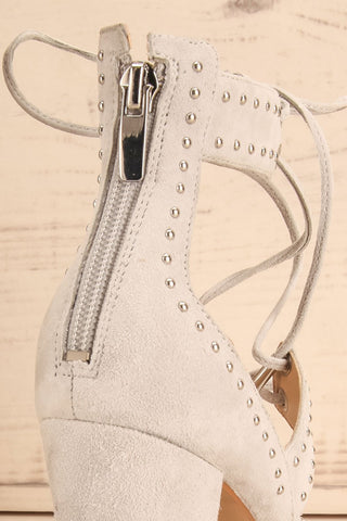 Caldirola Light Grey Strappy Sandals zip close-up | La Petite Garçonne Chpt. 2