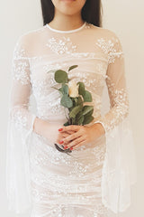 Calia White Lace Layered Bridal Dress with Bell Sleeves | Boudoir 1861