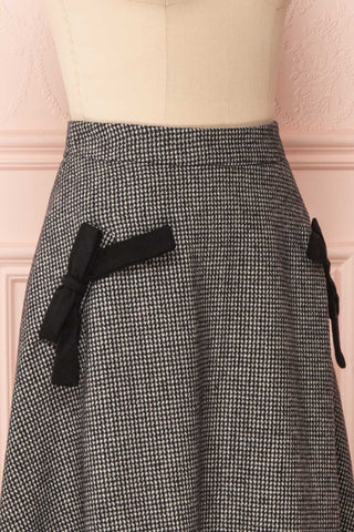 Calissa Black & White Houndstooth A-Line Midi Skirt | SIDE CLOSE UP | Boutique 1861