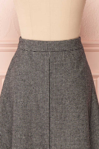 Calissa Black & White Houndstooth A-Line Midi Skirt | BACK CLOSE UP | Boutique 1861