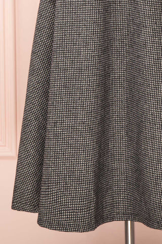 Calissa Black & White Houndstooth A-Line Midi Skirt | BOTTOM CLOSE UP | Boutique 1861