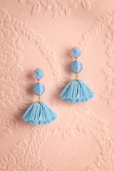 Callistemon Blue Sphere & Tassel Pendant Earrings | Boutique 1861