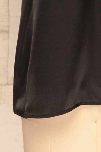 Camerino Black Silky & Lace Camisole | La Petite Garçonne bottom close-up