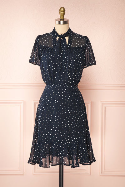 Cameron Navy & White Polkadot Short Dress | Boutique 1861 front view