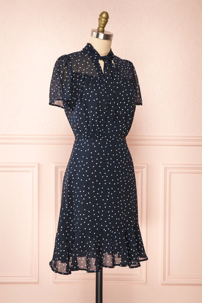 Cameron Navy & White Polkadot Short Dress | Boutique 1861 side view