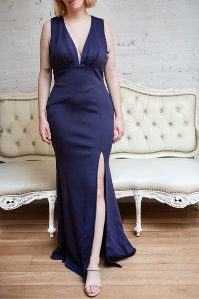 Camila Mauve Plunging Neckline Mermaid Gown | Boudoir 1861 model mer