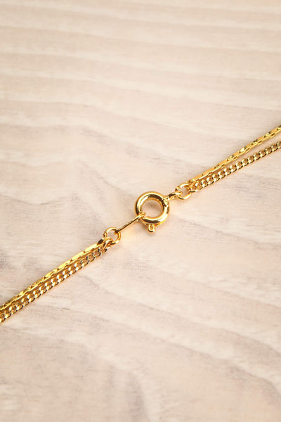 Camilia Sukh Golden Double Chain Pendant Necklace closure close-up | Boutique 1861