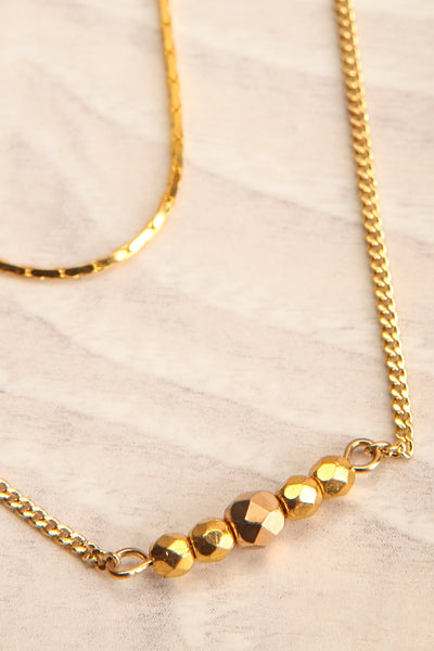 Camilia Sukh Golden Double Chain Pendant Necklace flat close-up | Boutique 1861