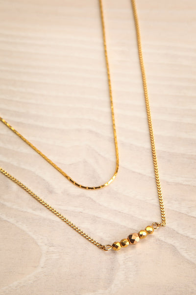 Camilia Sukh Golden Double Chain Pendant Necklace flat view | Boutique 1861