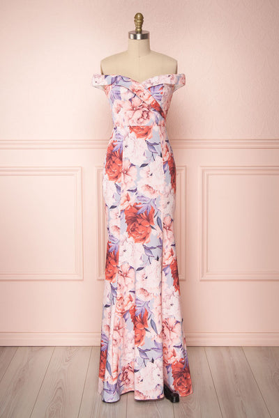 Camily Pink Floral Pattern Shimmering Mermaid Gown | Boutique 1861