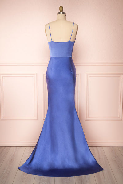 Campanaka Blue Silky Maxi Mermaid Dress | Boutique 1861 back view