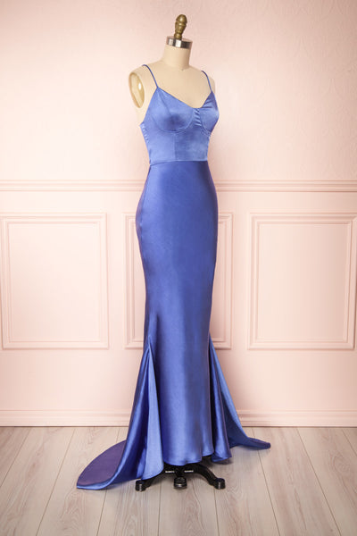 Campanaka Blue Silky Maxi Mermaid Dress | Boutique 1861 side view